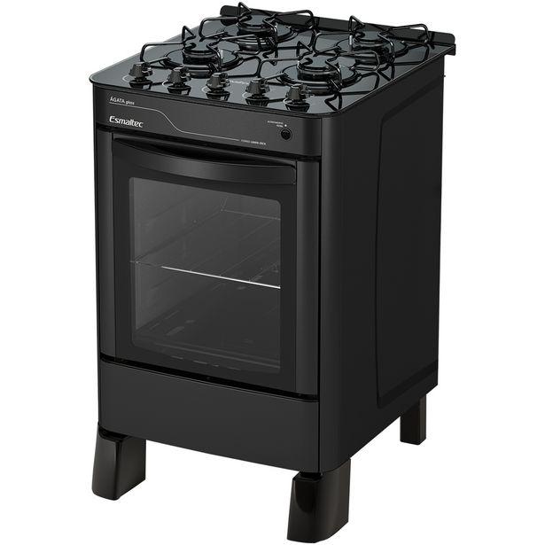 Oferta de Fogão Esmaltec 4 Bocas Ágata Glass Automático Mesa de Vidro Forno 56L - Preto por R$784
