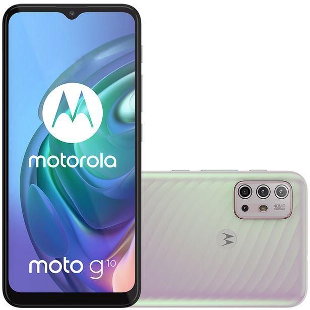 "Oferta de Smartphone Motorola Moto G10 6.5"" Octa Core 64GB 4GB Câmera Quádrupla - Branco por R$2151"