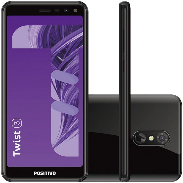 "Oferta de Smartphone Positivo Twist 3 S513 5.5"" Quad Core 32GB 1GB Câmera 8MP - Preto por R$558"