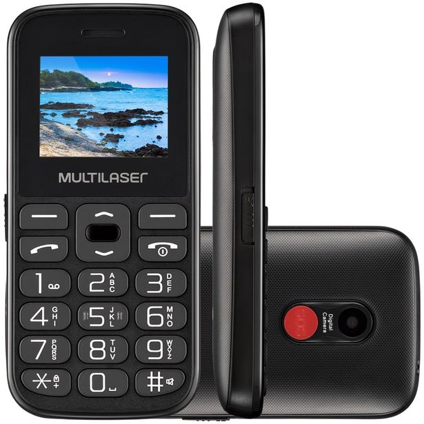 "Oferta de Celular Multilaser Vita P-9120 1,8"" 32GB Dual Chip - Preto por R$132"