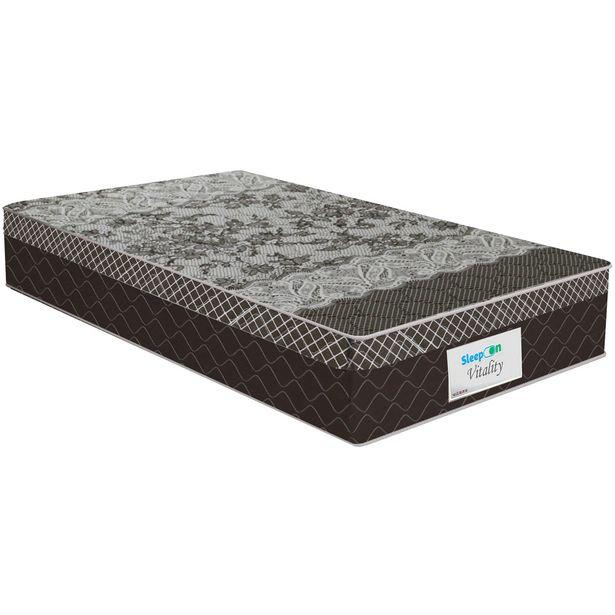 Oferta de Colchão Sleep On Molas Ensacadas Solteiro 88x188 Vitality - Marrom por R$557