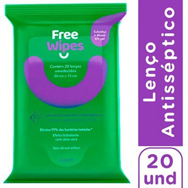 Oferta de Lenços Umedecidos Antissépticos Free Wipes para Higienização das Mãos e Superfícies -... por R$5,99