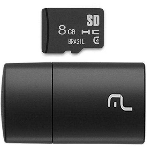 Oferta de Leitor USB com Cartão de memória micro SD 8gb Classe 4 MC161 Multilaser BT 1 UN por R$23,9