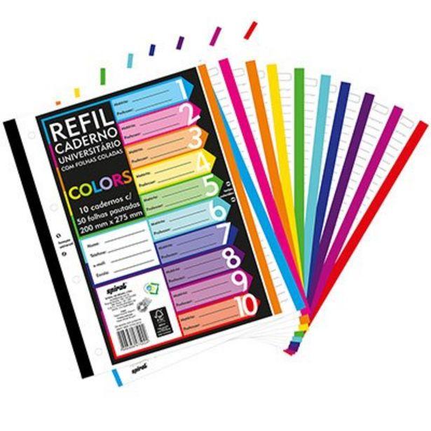 Oferta de Caderno universitário c/50 fls coladas refil color 4 furos Spiral PT 10 UN por R$17,6