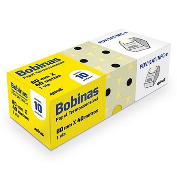 Oferta de Bobina térmica para ECF 80mmx40m amarela 64631 Spiral CX 10 UN por R$49,4