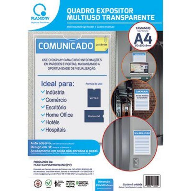 Oferta de Quadro de aviso A4 multiuso QMA4TR Plascony PT 1 UN por R$10,4