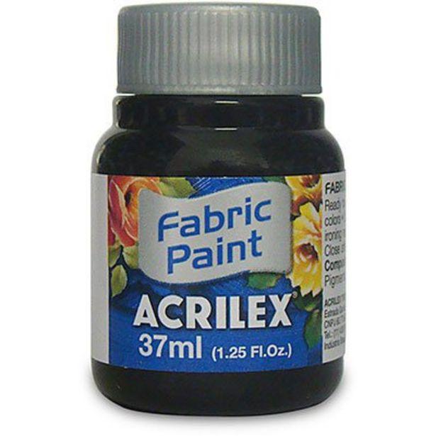 Oferta de Tinta p/tecido fosca 37ml preto 04140 Acrilex PT 1 UN por R$3,9