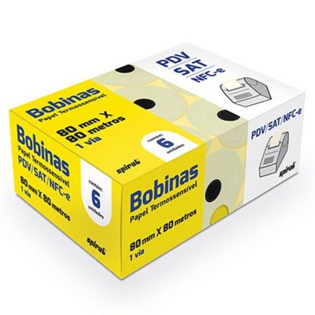 Oferta de Bobina térmica para ECF 80mmx80m amarela 64655 Spiral CX 6 UN por R$66