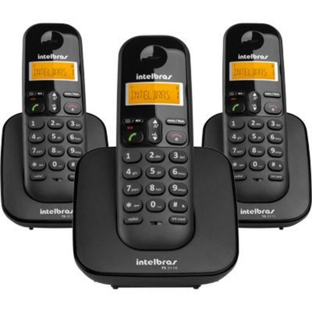 Oferta de Telefone s/ fio Dect 6.0 c/ identificador de chamadas + 2 ramais preto TS3113 Intelbr... por R$301,77
