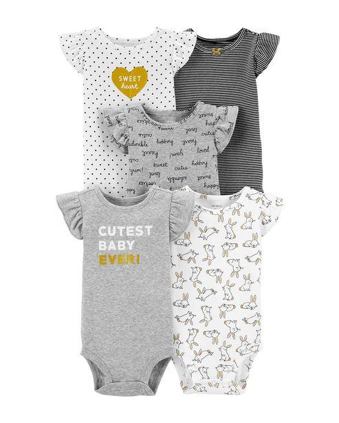 Oferta de Kit Body 5 Peças Cutest Baby Carter's - Cinza por R$119,9