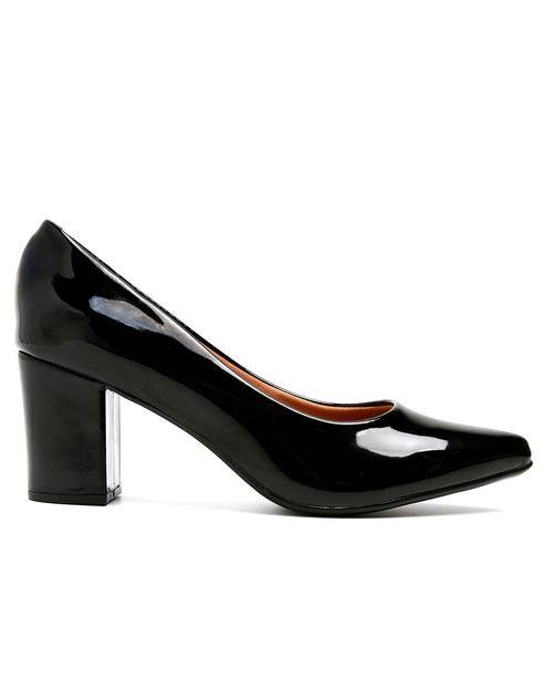 Oferta de Sapato Scarpin Bico Fino Verniz Vizzano - Preto por R$49,9