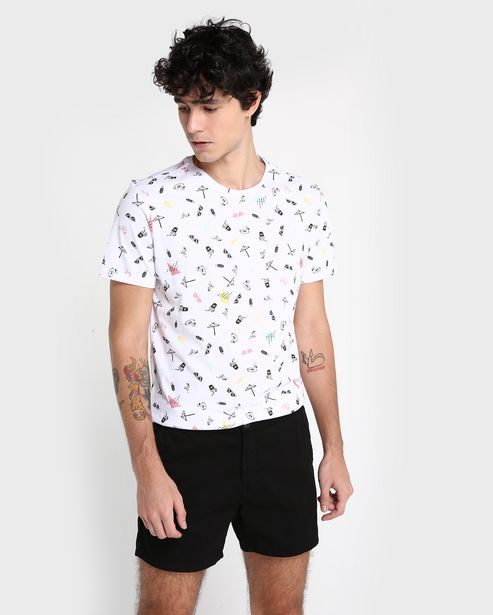 Oferta de Camiseta Beach Icons - Branco por R$19,9
