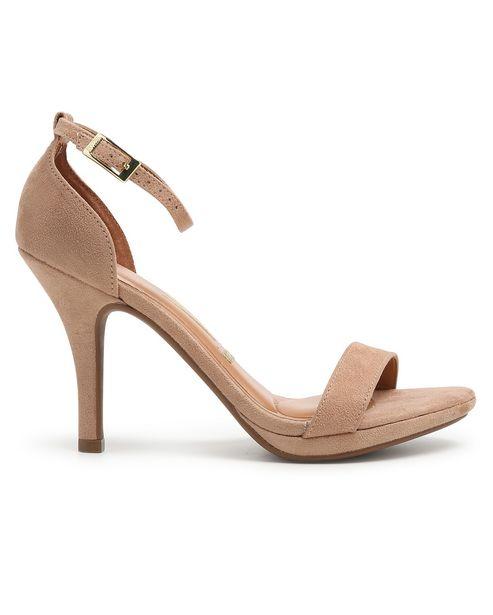 Oferta de Sandália Salto Fino Ankle Strap Vizzano - Bege por R$79,9