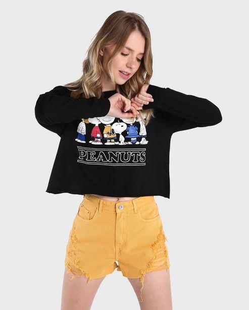 Oferta de Blusa Cropped Peanuts - Preto por R$39,9