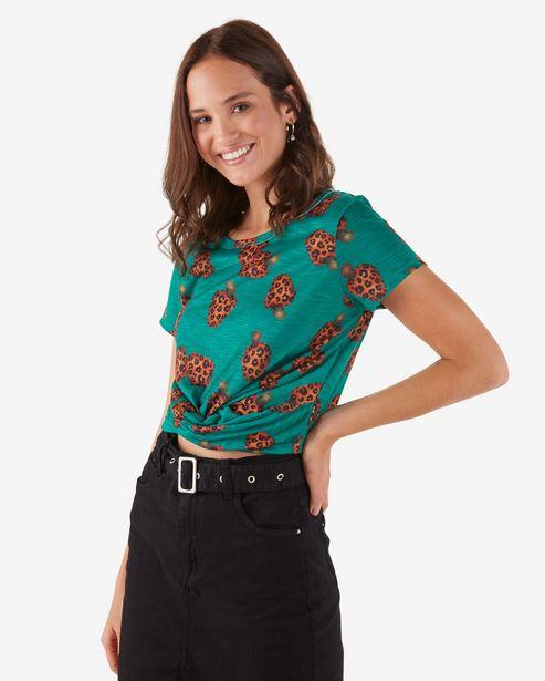 Oferta de Camiseta Cropped Caju Onça - Verde por R$29,9