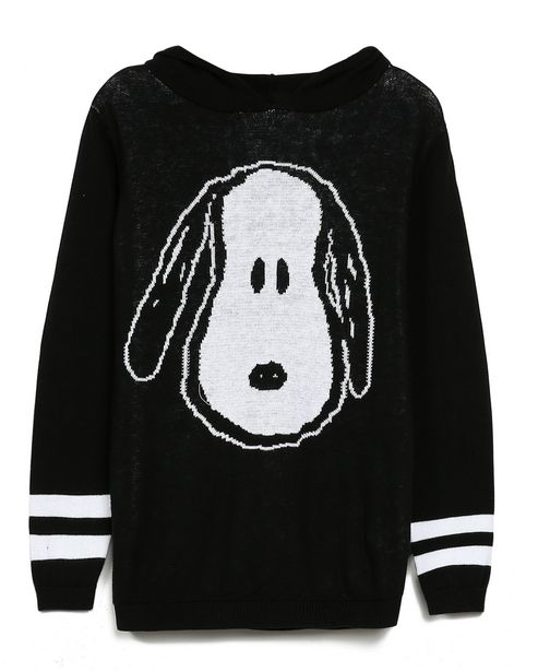 Oferta de Blusa Tricot Capuz Snoopy - Preto por R$49,9