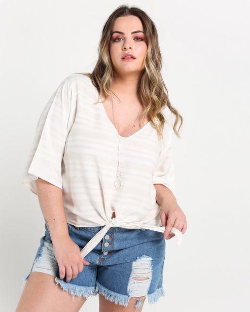 Oferta de Blusa Plus Size Listras Nó por R$59,9