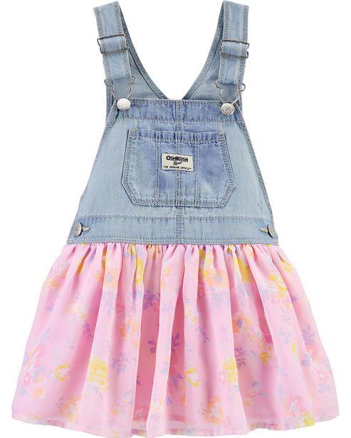 Oferta de Jardineira Jeans e Floral OshKosh - Azul por R$105,9