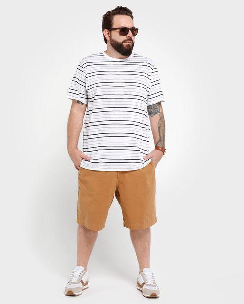Oferta de Bermuda Jeans Color Chino Plus Size Geométrica - Marrom por R$49,9