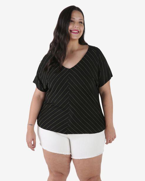 Oferta de Blusa Plus Size Malha Listrada Lurex - Preto por R$39,9