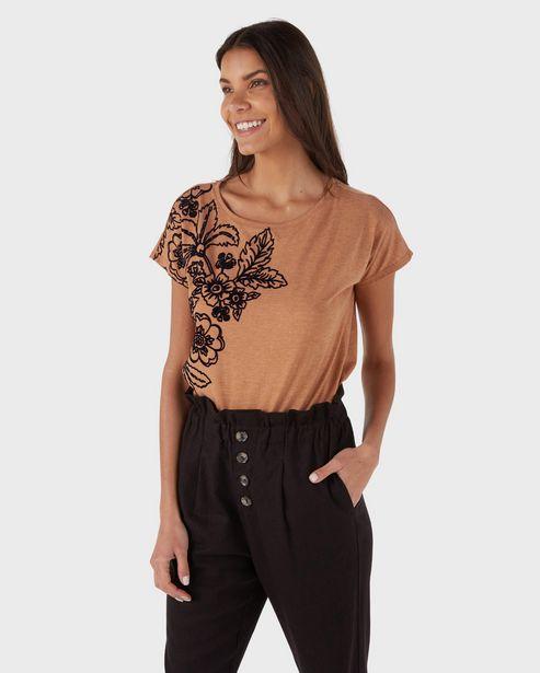 Oferta de Blusa Estampa Flocada Flores - Marrom Claro por R$29,9