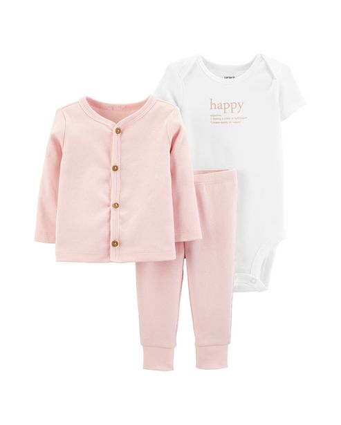 Oferta de Conjunto Bebê 3 Peças Happy Carter´s - Rosa por R$111,9
