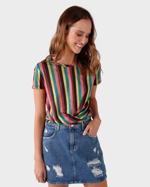 Oferta de Camiseta Listrada Torcido - Multicor por R$29,9