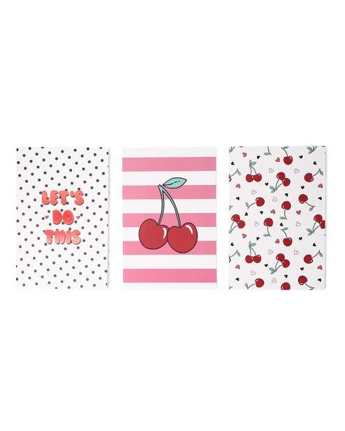 Oferta de Kit Caderno 3 Peças Cherry por R$9,9