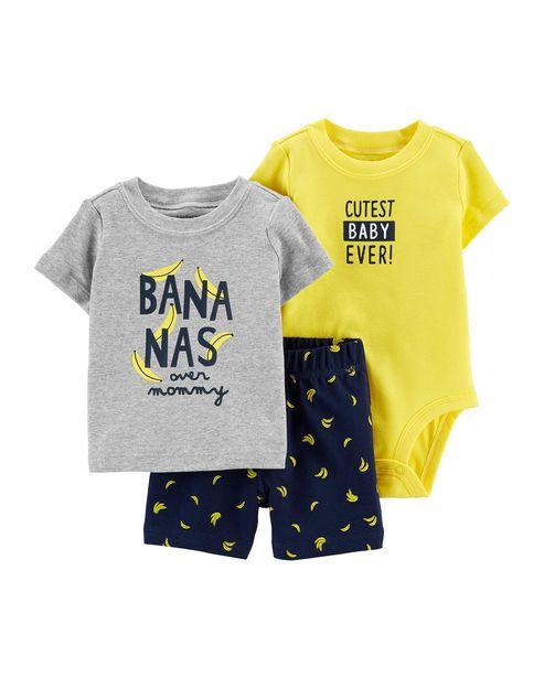 Oferta de Conjunto 3 Peças Bananas Carter's - Amarelo por R$71,9