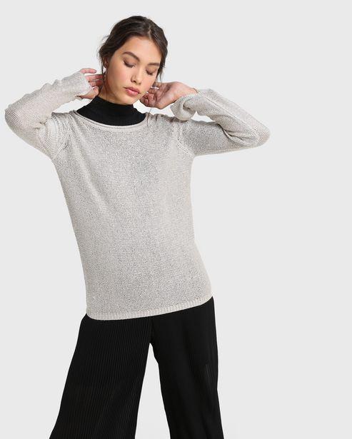 Oferta de Suéter Tricot Mini Paetê - Cinza por R$69,9