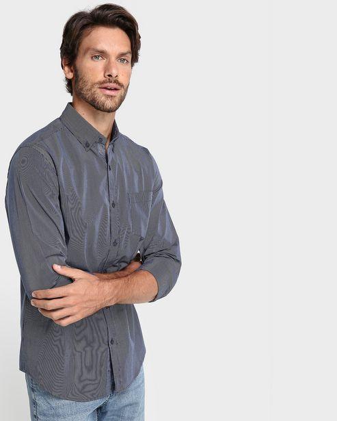 Oferta de Camisa Algodão Slim Listrada - Azul Aço por R$69,9