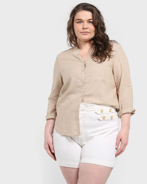 Oferta de Camisa Plus Size Bolso - Khaki por R$49,9