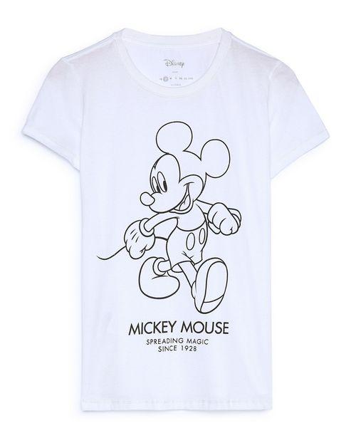 Oferta de Camiseta Manga Curta Mickey Mouse Brilho - Branco por R$29,9