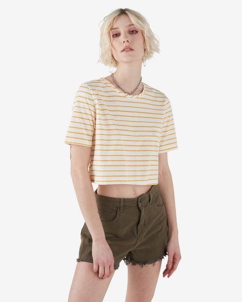 Oferta de Camiseta Cropped Listrada - Amarelo/Branco por R$29,9