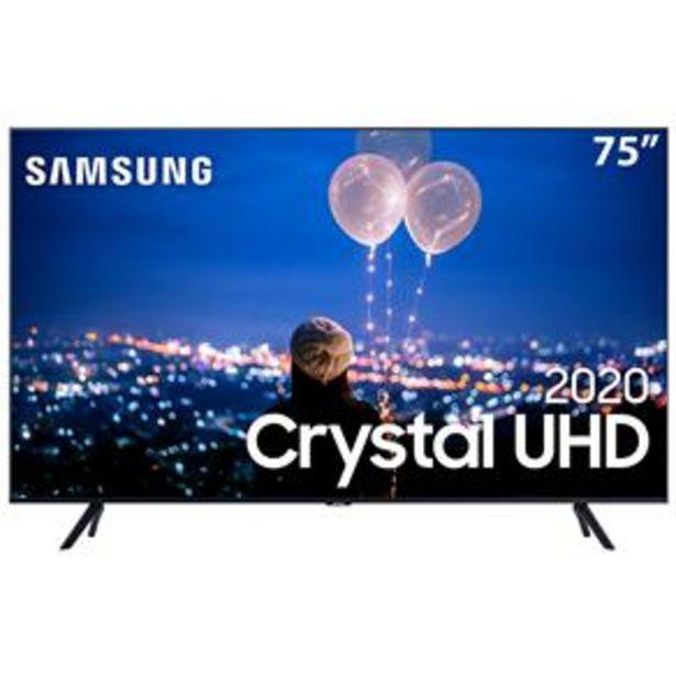 """Oferta de Smart TV LED 75"""" UHD 4K Samsung 75TU8000 Crystal UHD, Borda Infinita, Alexa Built In, Visual Livre de Cabos, Modo Ambiente Foto, Controle Único - 2020 por R$5850"""