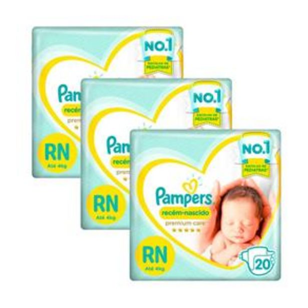 Oferta de Fralda Pampers Recém-Nascido RN Até 4 kg- Kit com 60 unidades por R$45