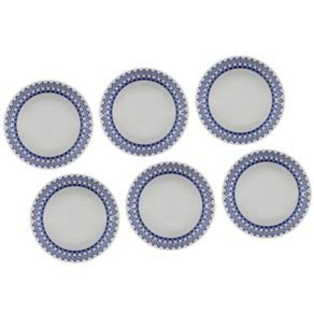 Oferta de Conjunto de Pratos Fundos Biona Grécia em Cerâmica 21 cm - 6 Peças por R$59,9