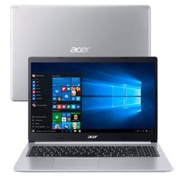 "Oferta de Notebook Acer Core i5-10210U 8GB 256GB SSD Placa de Vídeo 2GB Tela 15.6"" Windows 10 Aspire 5 A515-54G-53GP por R$4049"