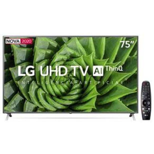 "Oferta de Smart TV LED 75"" UHD 4K LG 75UN8000PSB Wi-Fi, Bluetooth, HDR, Inteligência Artificial ThinQ AI, Google Assistente, Alexa, Controle Smart Magic - 2020 por R$5999"