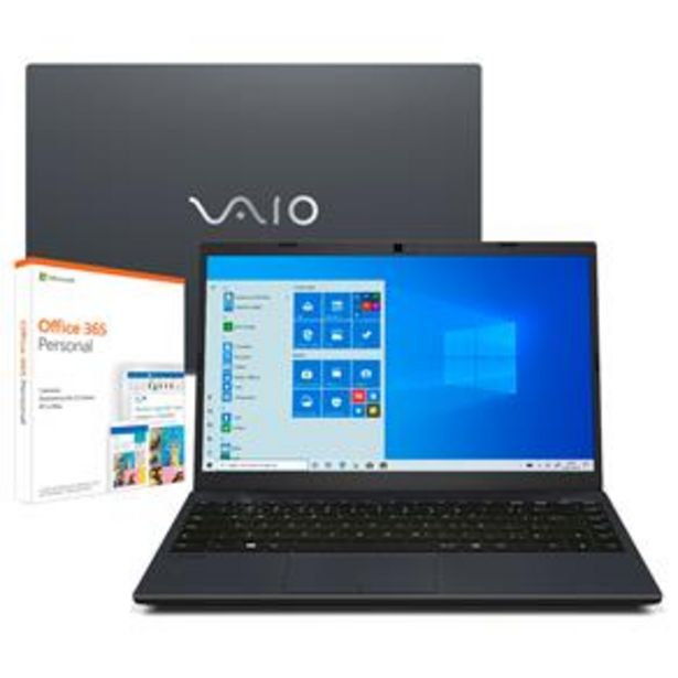 "Oferta de Notebook VAIO Core i5-10210U 8GB 256GB SSD Tela Full HD 14"" Windows 10 FE14 VJFE42F11X-B0321H + Microsoft 365 Personal por R$4069"