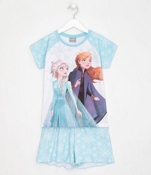 Oferta de Pijama Infantil Estampa Elsa e Anna Frozen - Tam 3 a 12 anos  por R$19,9