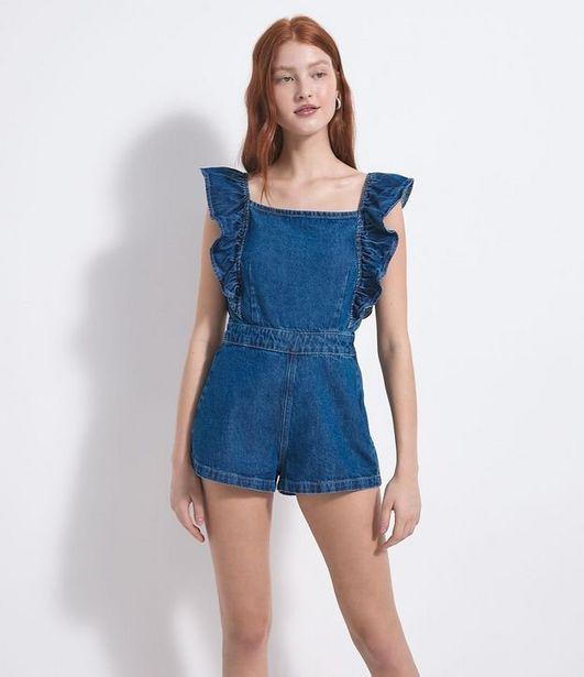 Oferta de Macaquinho Jeans Liso com Babados e Amarração  por R$59,9