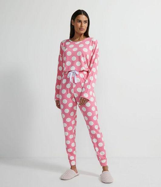 Oferta de Pijama Longo em Moletinho com Estampa Poá  por R$99,9