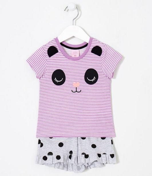 Oferta de Pijama Infantil Estampa Panda Listrado - Tam 2 a 4 anos  por R$19,9