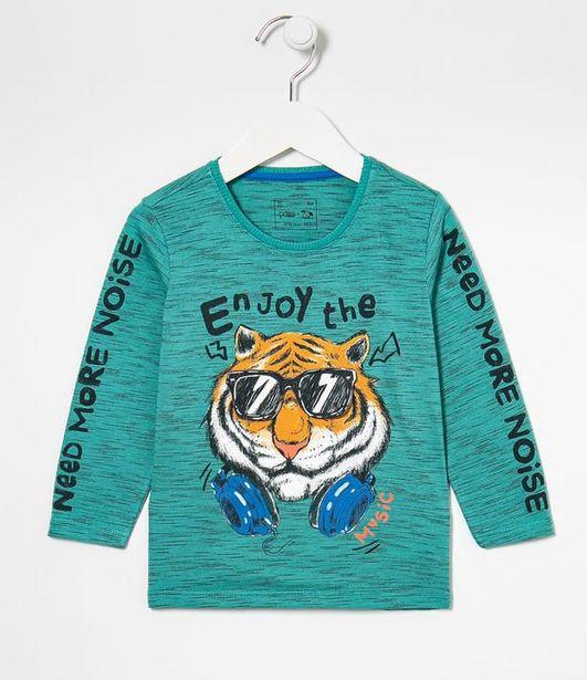 Oferta de Camiseta Infantil Estampa Tigre - Tam 1 a 5 anos  por R$19,9