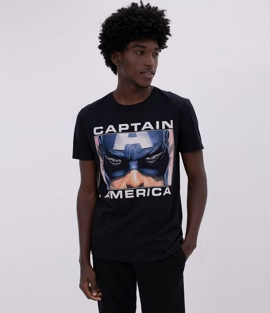 Oferta de Camiseta Estampa Rosto Capitão América Estourado  por R$19,9