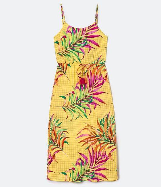 Oferta de Vestido Longo Estampado Amarração Tassel na Cintura  por R$39,9