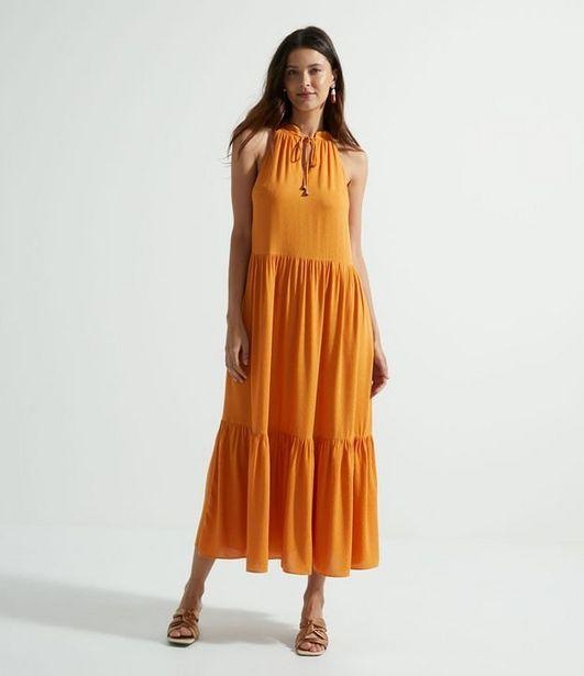 Oferta de Vestido Longo em Viscose Cavado e com Babados  por R$99,9