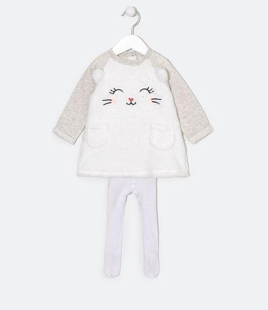 Oferta de Vestido Infantil em Moletom Estampa Bichinho com Meia Calça - Tam 0 a 18 meses  por R$39,9