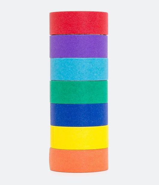 Oferta de Washtape Papel Liso Colorido Pride  por R$9,9